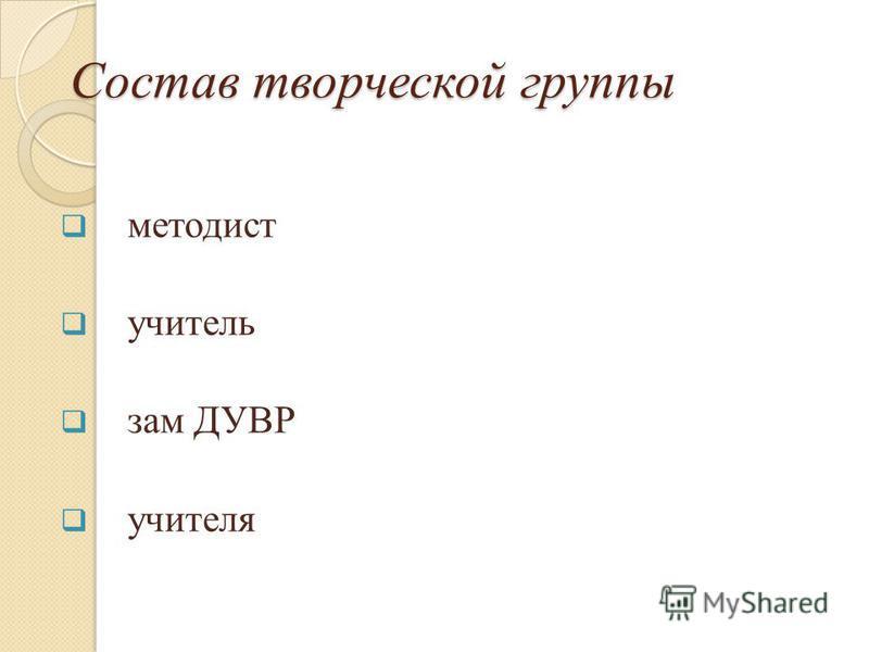 Состав творческой группы методист учитель зам ДУВР учителя