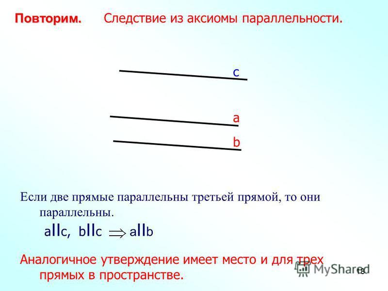 18 а b с Повторим. Повторим. Следствие из аксиомы параллельности. Если две прямые параллельны третьей прямой, то они параллельны. a II с, b II с a II b Аналогичное утверждение имеет место и для трех прямых в пространстве.