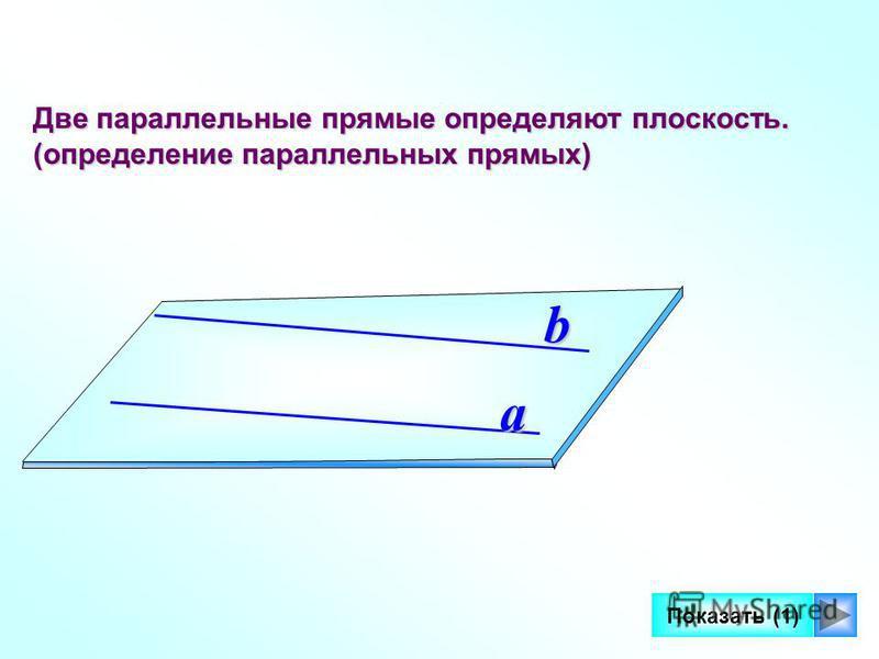 9 Две параллельные прямые определяют плоскость. (определение параллельных прямых) a b Показать (1)