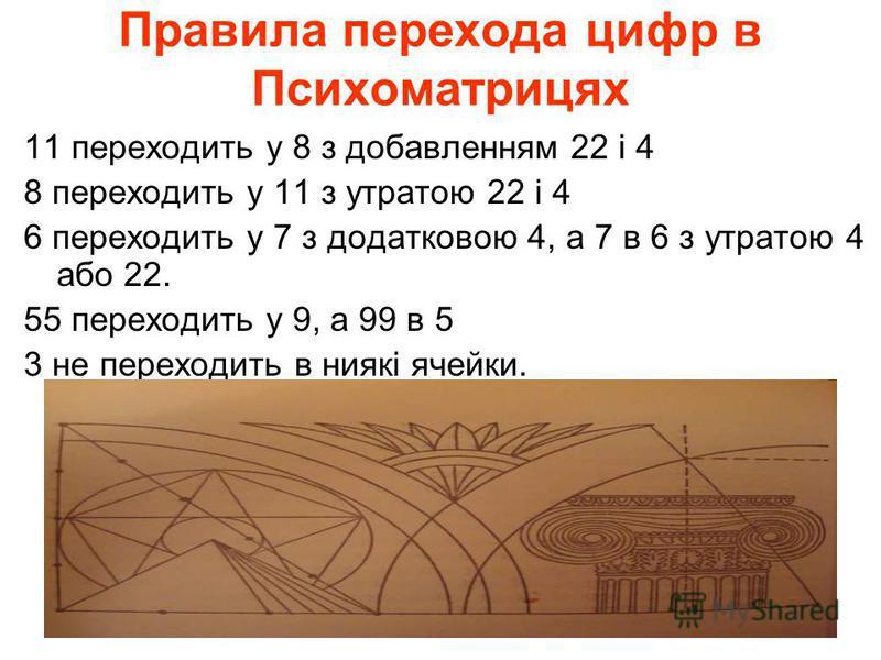 Правила перехода цифр в Психоматрицях 11 переходить у 8 з добавленням 22 і 4 8 переходить у 11 з утратою 22 і 4 6 переходить у 7 з додатковою 4, а 7 в 6 з утратою 4 або 22. 55 переходить у 9, а 99 в 5 3 не переходить в ниякі ячейки.
