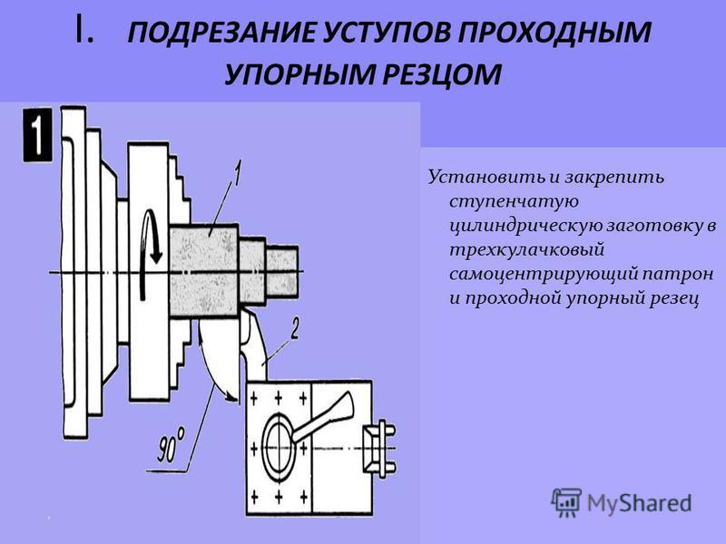 I. ПОДРЕЗАНИЕ УСТУПОВ ПРОХОДНЫМ УПОРНЫМ РЕЗЦОМ Установить и закрепить ступенчатую цилиндрическую заготовку в трехкулачковый самоцентрирующий патрон и проходной упорный резец