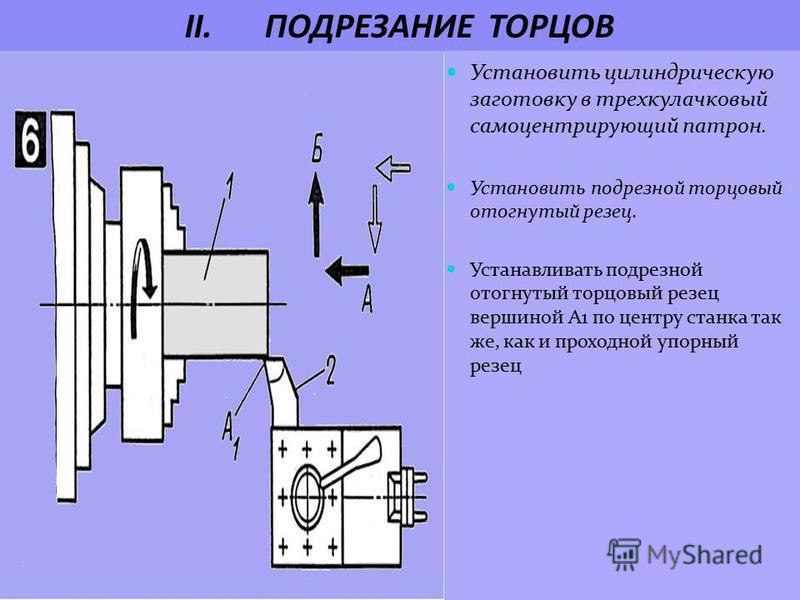 II.ПОДРЕЗАНИЕ ТОРЦОВ Установить цилиндрическую заготовку в трехкулачковый самоцентрирующий патрон. Установить подрезной торцовый отогнутый резец. Устанавливать подрезной отогнутый торцовый резец вершиной А1 по центру станка так же, как и проходной уп