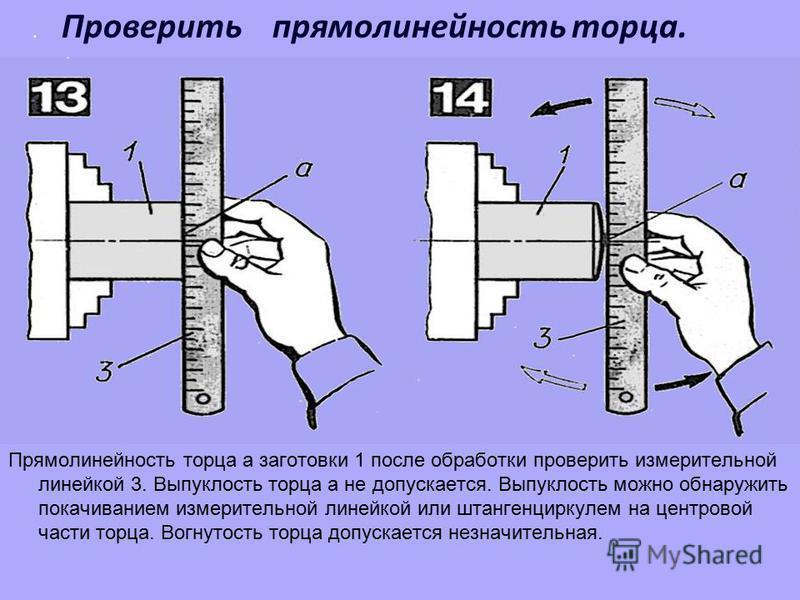 . Проверить прямолинейность торца. Прямолинейность торца а заготовки 1 после обработки проверить измерительной линейкой 3. Выпуклость торца а не допускается. Выпуклость можно обнаружить покачиванием измерительной линейкой или штангенциркулем на центр