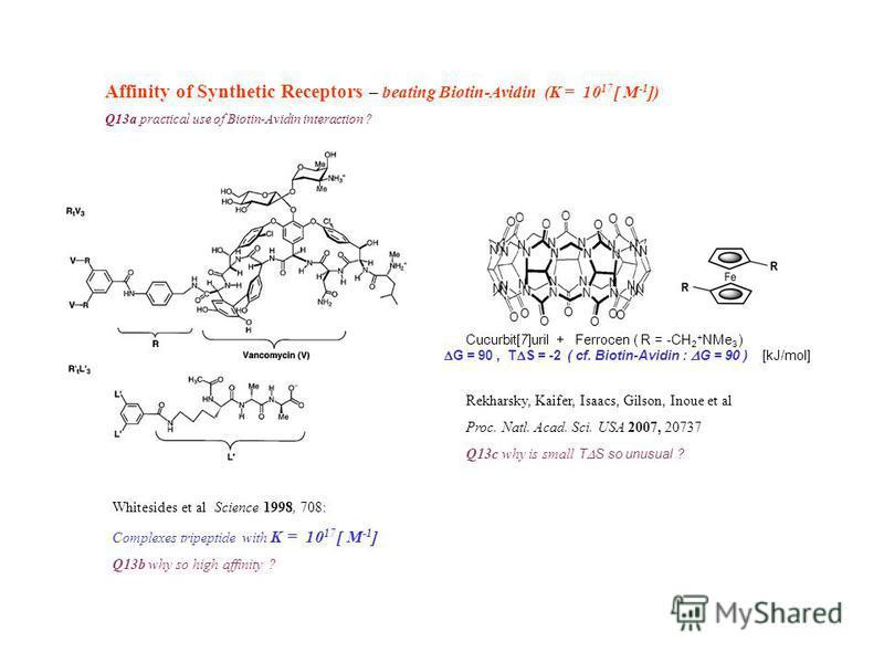 Cucurbit[7]uril + Ferrocen ( R = -CH 2 + NMe 3 ) G = 90, T S = -2 ( cf. Biotin-Avidin : G = 90 ) [kJ/mol] Affinity of Synthetic Receptors – beating Biotin-Avidin (K = 10 17 [ M -1 ]) Q13a practical use of Biotin-Avidin interaction ? Rekharsky, Kaifer