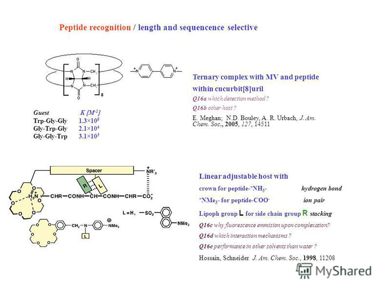 Peptide recognition / length and sequencence selective Ternary complex with MV and peptide within cucurbit[8]uril Q16a which detection method ? Q16b other host ? E. Meghan; N.D. Bouley, A. R. Urbach, J. Am. Chem. Soc., 2005, 127, 14511 Guest K [M -1