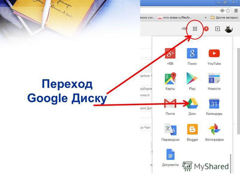 Переход Google Диску