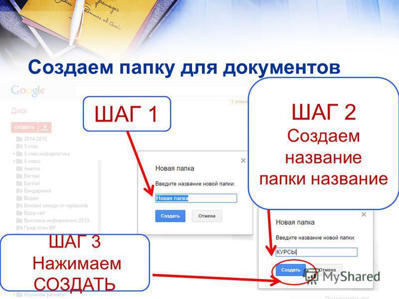 Создаем папку для документов ШАГ 1 ШАГ 2 Создаем название папки название ШАГ 3 Нажимаем СОЗДАТЬ