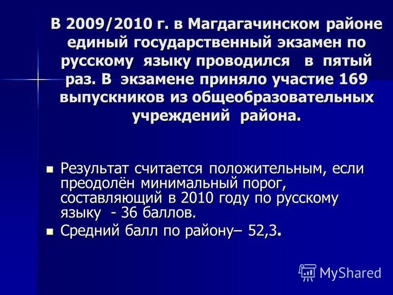 В 2009/2010 г. в Магдагачинском районе единый государственный экзамен по русскому языку проводился в пятый раз. В экзамене приняло участие 169 выпускников из общеобразовательных учреждений района. В 2009/2010 г. в Магдагачинском районе единый государ