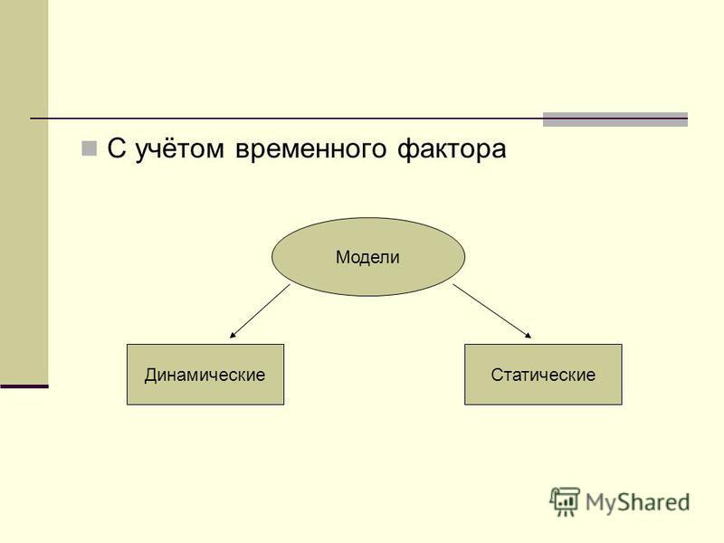 С учётом временного фактора Модели Статические Динамические