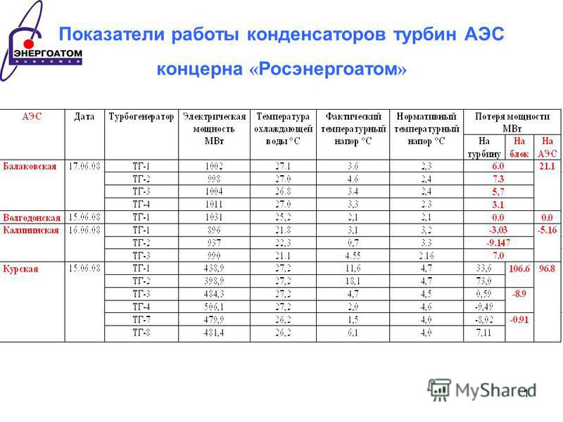 1 Показатели работы конденсаторов турбин АЭС концерна « Росэнергоатом »