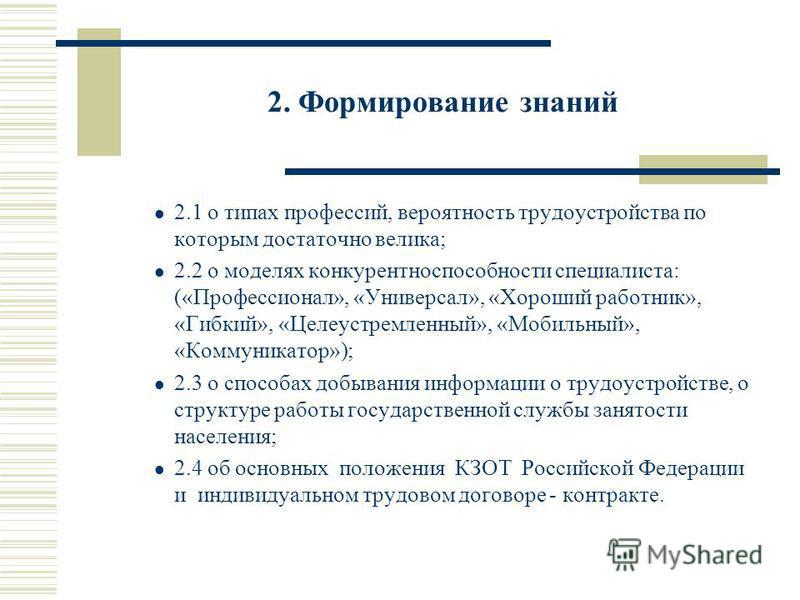 2. Формирование знаний 2.1 о типах профессий, вероятность трудоустройства по которым достаточно велика; 2.2 о моделях конкурентоспособности специалиста: («Профессионал», «Универсал», «Хороший работник», «Гибкий», «Целеустремленный», «Мобильный», «Ком