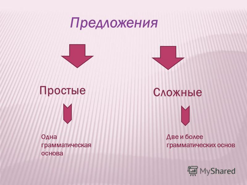 Предложения Простые Сложные Одна грамматическая основа Две и более грамматических основ