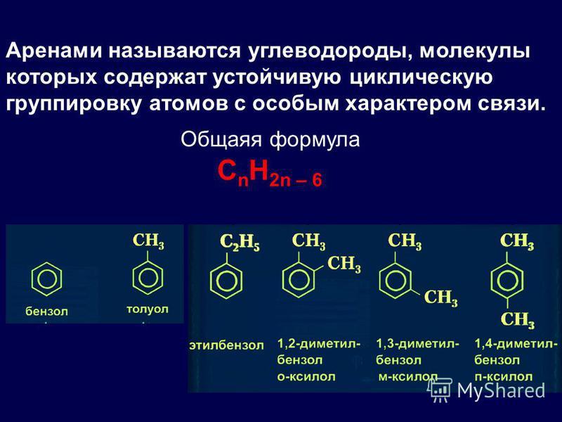 Аренами называются углеводороды, молекулы которых содержат устойчивую циклическую группировку атомов с особым характером связи. C n H 2n – 6 Общаяя формула