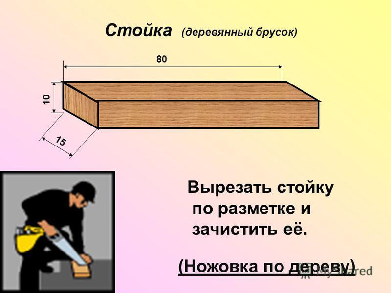 Стойка (деревянный брусок) 80 10 15 Вырезать стойку по разметке и зачистить её. (Ножовка по дереву)
