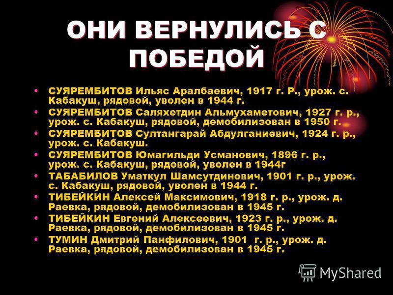 ОНИ ВЕРНУЛИСЬ С ПОБЕДОЙ СУЯРЕМБИТОВ Ильяс Аралбаевич, 1917 г. Р., урож. с. Кабакуш, рядовой, уволен в 1944 г. СУЯРЕМБИТОВ Саляхетдин Альмухаметович, 1927 г. р., урож. с. Кабакуш, рядовой, демобилизован в 1950 г. СУЯРЕМБИТОВ Султангарай Абдулганиевич,