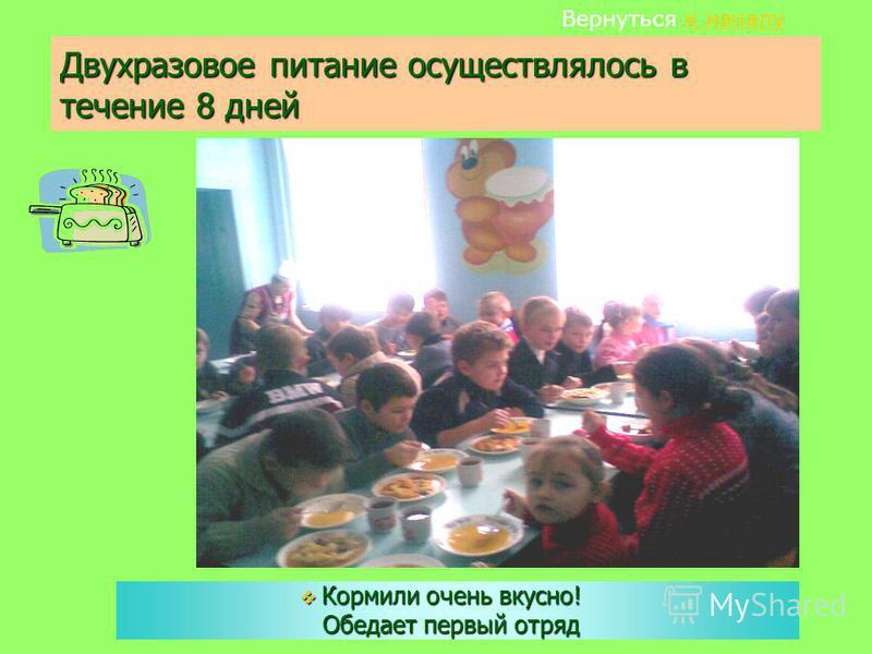 Двухразовое питание осуществлялось в течение 8 дней Кормили очень вкусно! Обедает первый отряд Вернуться к началу к началу