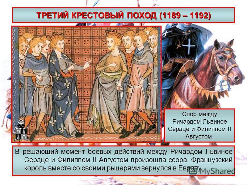 ТРЕТИЙ КРЕСТОВЫЙ ПОХОД (1189 – 1192) В решающий момент боевых действий между Ричардом Львиное Сердце и Филиппом II Августом произошла ссора. Французский король вместе со своими рыцарями вернулся в Европу. Спор между Ричардом Львиное Сердце и Филиппом