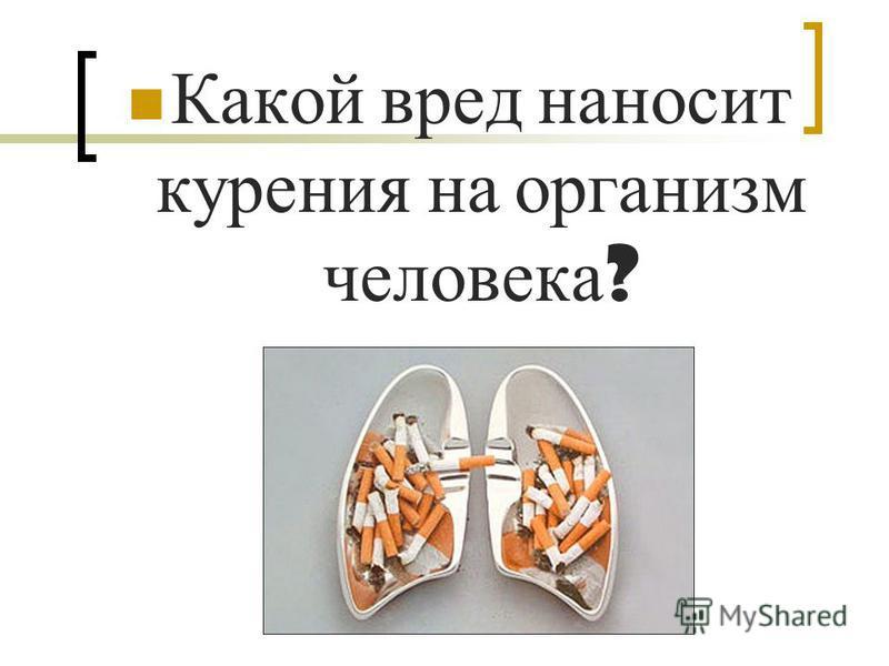 Какой вред наносит курения на организм человека ?