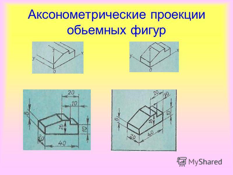 Аксонометрические проекции объемных фигур