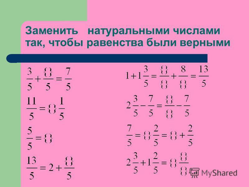 Я знаю, я умею Сложение и вычитание обыкновенных дробей с одинаковым знаменателем Дробь вида =1 Выделение целой части из неправильной дроби Смешанное число представимо в виде суммы целой и дробной частей