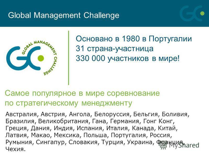 Самое популярное в мире соревнование по стратегическому менеджменту Основано в 1980 в Португалии 31 страна-участница 330 000 участников в мире! Global Management Challenge Австралия, Австрия, Ангола, Белоруссия, Бельгия, Боливия, Бразилия, Великобрит