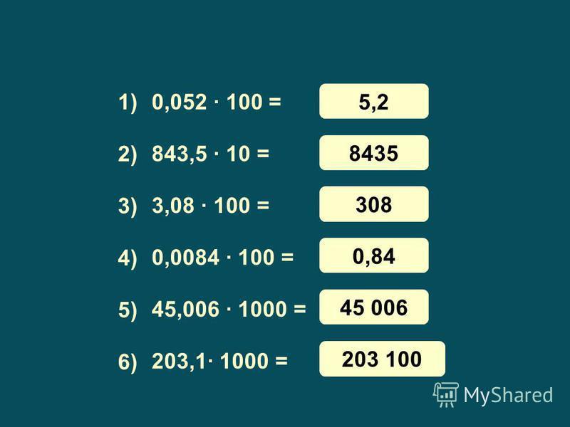 0,052 · 100 = 843,5 · 10 = 3,08 · 100 = 0,0084 · 100 = 45,006 · 1000 = 203,1· 1000 = 1) 3) 4) 5) 6) 2) 5,2 8435 308 0,84 45 006 203 100