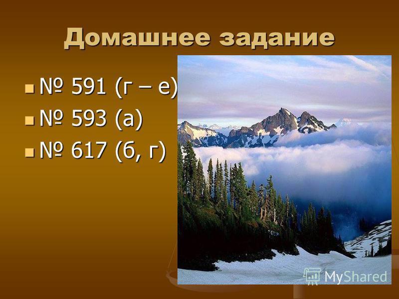 Домашнее задание 591 (г – е) 593 (а) 617 (б, г)