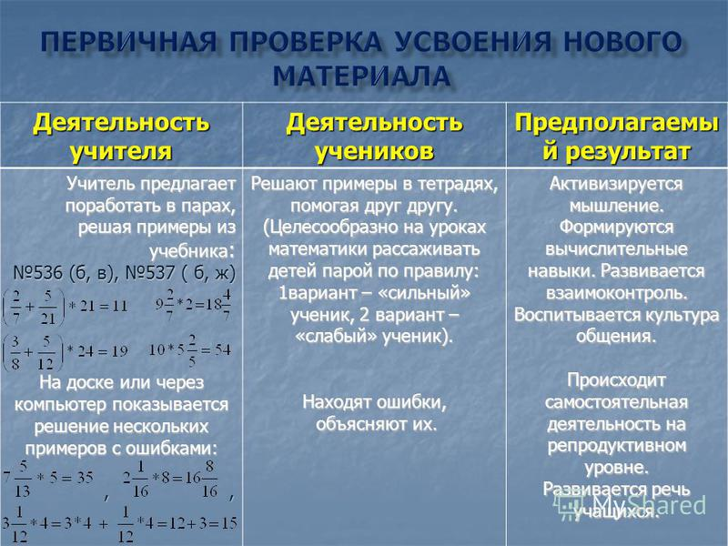 Деятельность учителя Деятельность учеников Предполагаемы й результат Учитель предлагает поработать в парах, решая примеры из учебника : 536 (б, в), 537 ( б, ж) На доске или через компьютер показывается решение нескольких примеров с ошибками:,,,, Реша