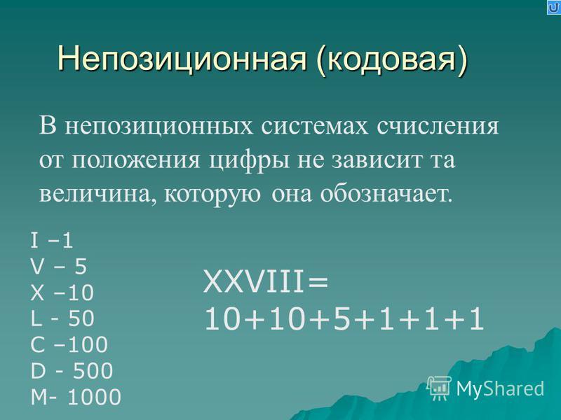 В непозиционных системах счисления от положения цифры не зависит та величина, которую она обозначает. Непозиционная (кодовая) I –1 V – 5 X –10 L - 50 C –100 D - 500 M- 1000 XXVIII= 10+10+5+1+1+1