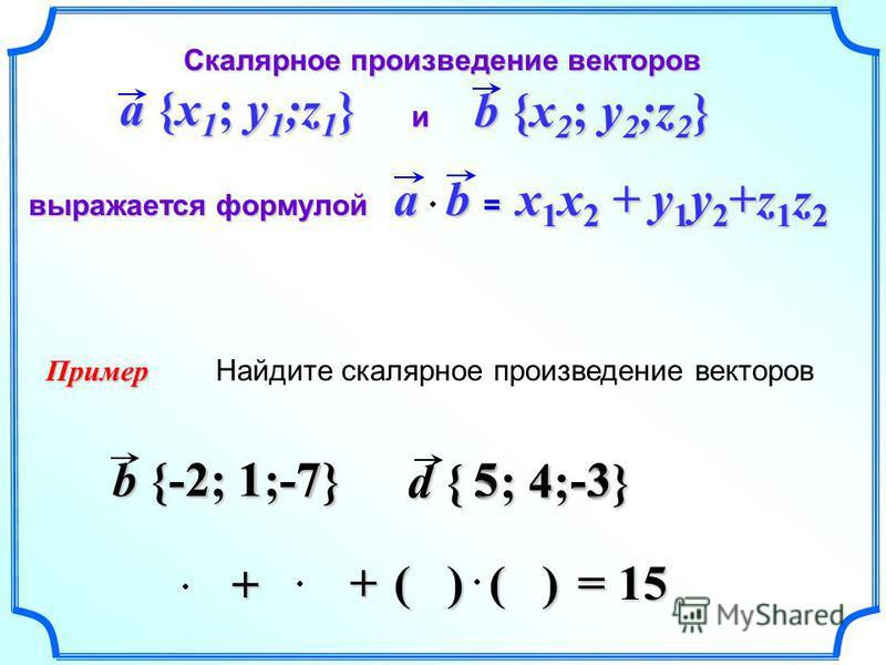 d { 5 ; 4;-3} b {-2; 1;-7} Найдите скалярное произведение векторов Пример ( ) Скалярное произведение векторов Скалярное произведение векторов и выражается формулой выражается формулой a {x 1 ; y 1 ;z 1 } b {x 2 ; y 2 ;z 2 } = x 1 x 2 + y 1 y 2 +z 1 z