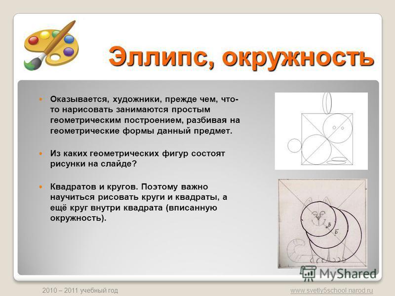 www.svetly5school.narod.ru 2010 – 2011 учебный год Эллипс, окружность Оказывается, художники, прежде чем, что- то нарисовать занимаются простым геометрическим построением, разбивая на геометрические формы данный предмет. Из каких геометрических фигур