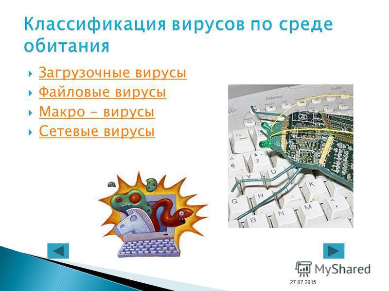 Загрузочные вирусы Файловые вирусы Макро - вирусы Сетевые вирусы 27.07.2015