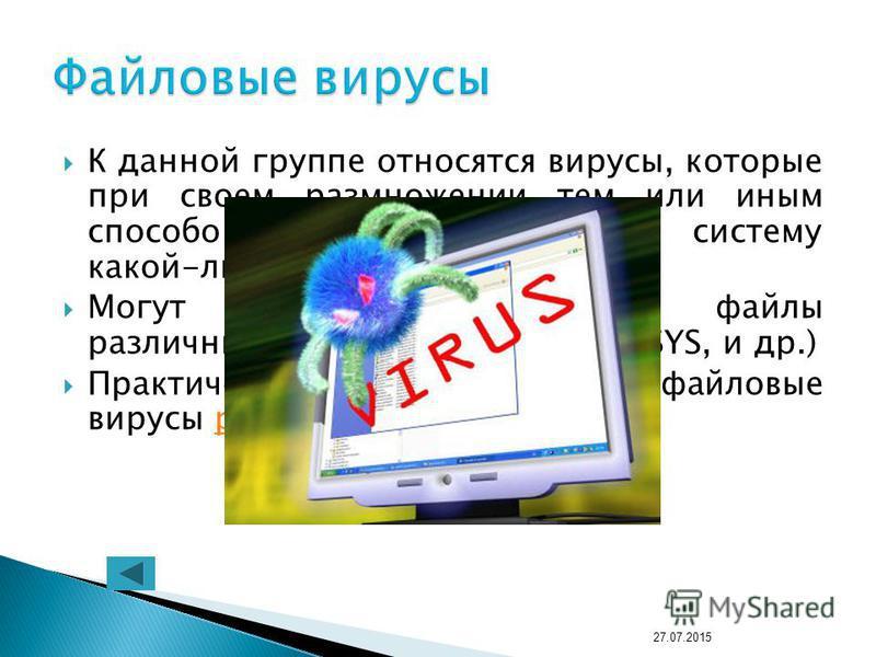 К данной группе относятся вирусы, которые при своем размножении тем или иным способом используют файловую систему какой-либо ОС. Могут поражать исполнимые файлы различных типов (EXE, COM, BAT, SYS, и др.) Практически все загрузочные и файловые вирусы