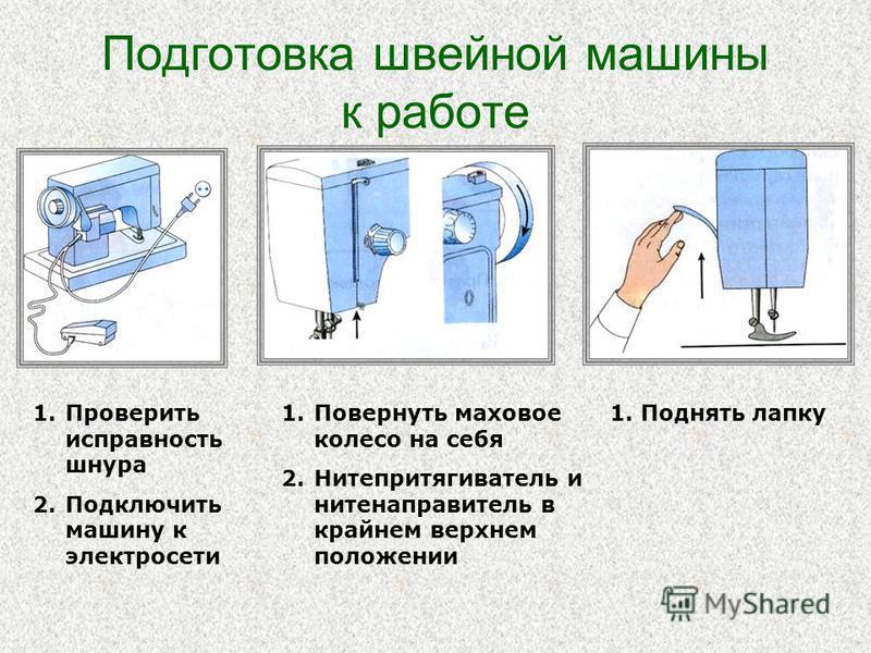 Подготовка швейной машины к работе 1. Проверить исправность шнура 2. Подключить машину к электросети 1. Повернуть маховое колесо на себя 2. Нитепритягиватель и нитенаправитель в крайнем верхнем положении 1. Поднять лапку