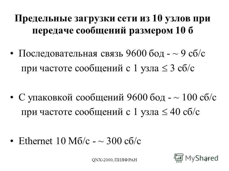 QNX-2000, ПИЯФ РАН17 Предельные загрузки сети из 10 узлов при передаче сообщений размером 10 б Последовательная связь 9600 бод - ~ 9 сб/с при частоте сообщений с 1 узла 3 сб/с С упаковкой сообщений 9600 бод - ~ 100 сб/с при частоте сообщений с 1 узла