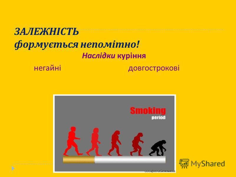 ЗАЛЕЖНІСТЬ формується непомітно ! Наслідки куріння негайнідовгострокові
