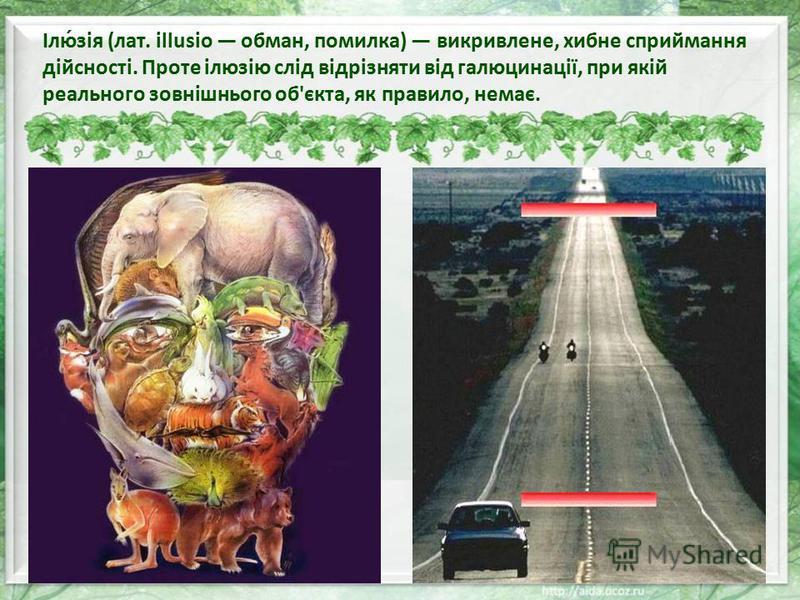 Ілю́зія (лат. illusio обман, помилка) викривлене, хибне сприймання дійсності. Проте ілюзію слід відрізняти від галюцинації, при якій реального зовнішнього об'єкта, як правило, немає.