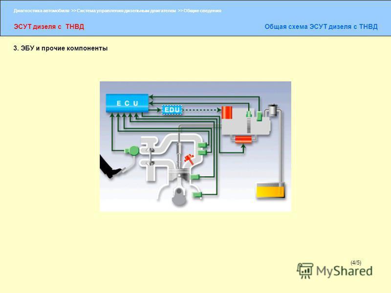 Диагностика автомобиля >> Система управления дизельным двигателем >> Общие сведения ЭСУТ дизеля с ТНВДОбщая схема ЭСУТ дизеля с ТНВД (4/5) 3. ЭБУ и прочие компоненты