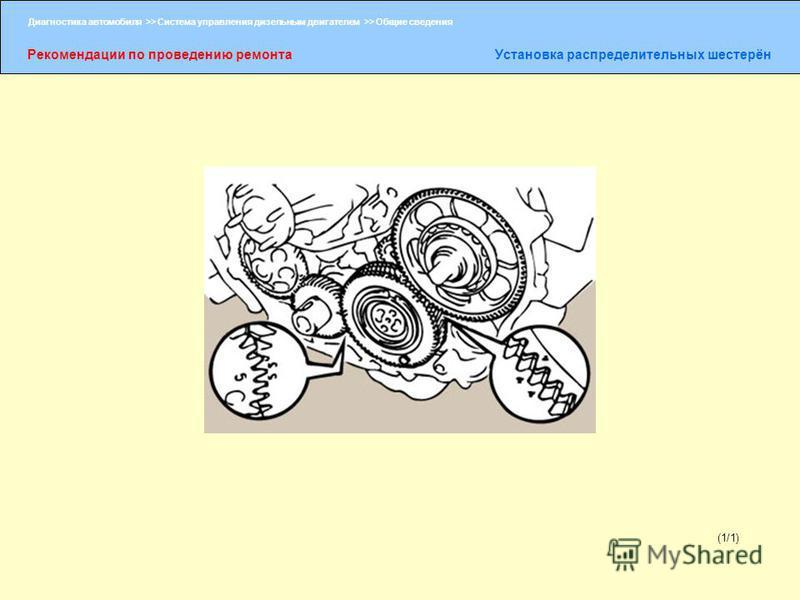 Диагностика автомобиля >> Система управления дизельным двигателем >> Общие сведения Рекомендации по проведению ремонта Установка распределительных шестерён (1/1)