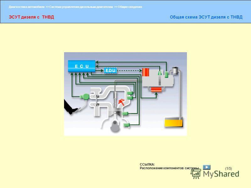 Диагностика автомобиля >> Система управления дизельным двигателем >> Общие сведения ЭСУТ дизеля с ТНВДОбщая схема ЭСУТ дизеля с ТНВД (1/5) ССЫЛКА: Расположение компонентов системы