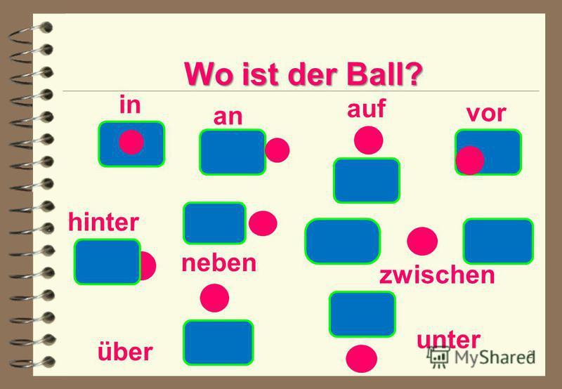 2 Wo ist der Ball? in an auf vor hinter neben über unter zwischen