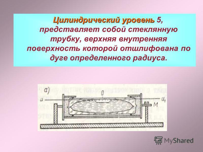 Цилиндрический уровень Цилиндрический уровень 5, представляет собой стеклянную трубку, верхняя внутренняя поверхность которой отшлифована по дуге определенного радиуса.