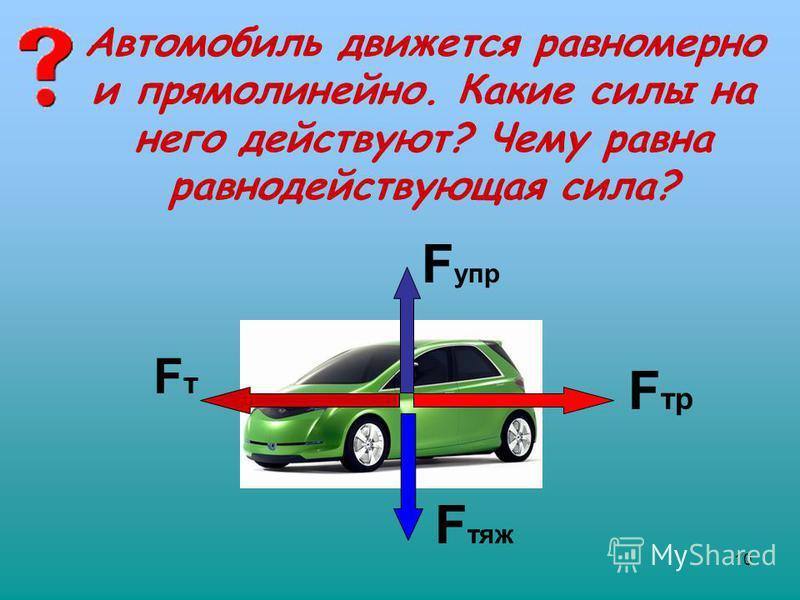 10 Автомобиль движется равномерно и прямолинейно. Какие силы на него действуют? Чему равна равнодействующая сила? FтFт F упр F тр F тяж