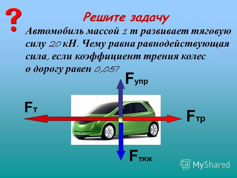 14 Решите задачу FтFт F упр F тр F тяж Автомобиль массой 1 т развивает тяговую силу 20 кН. Чему равна равнодействующая сила, если коэффициент трения колес о дорогу равен 0,05?