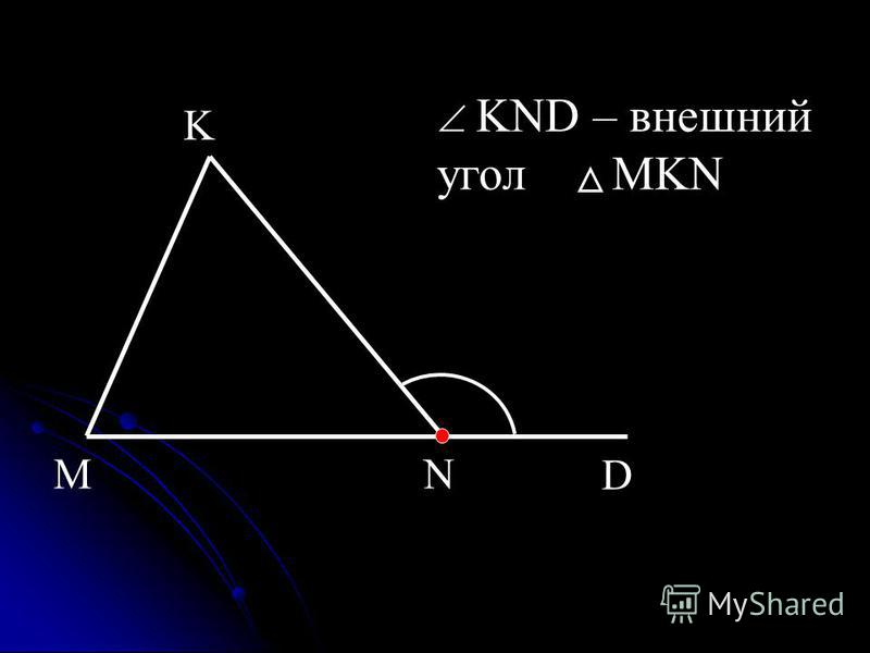 NM K D KND – внешний угол MKN