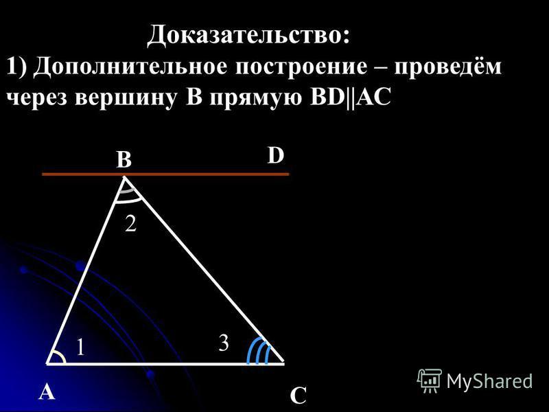 Доказательство: 1) Дополнительное построение – проведём через вершину В прямую BD||АС 2 1 3 A B D C