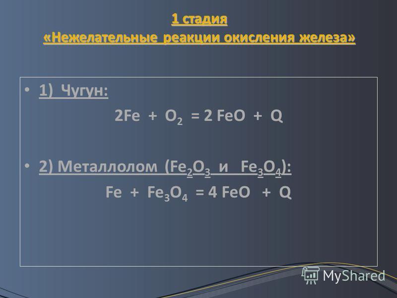 1 стадия «Нежелательные реакции окисления железа» 1) Чугун: 2Fe + O 2 = 2 FeO + Q 2) Металлолом (Fe 2 O 3 и Fe 3 O 4 ): Fe + Fe 3 O 4 = 4 FeO + Q