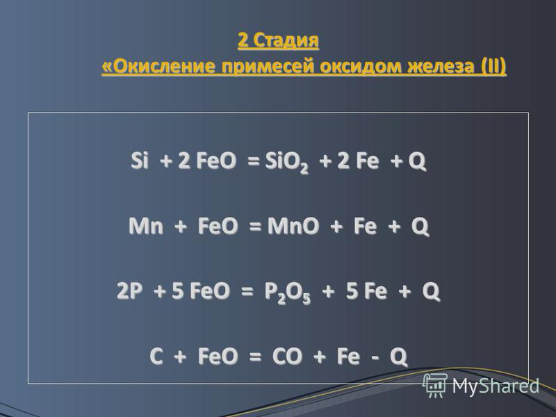 2 Стадия «Окисление примесей оксидом железа (II) Si + 2 FeO = SiO 2 + 2 Fe + Q Mn + FeO = MnO + Fe + Q 2P + 5 FeO = P 2 O 5 + 5 Fe + Q C + FeO = CO + Fe - Q