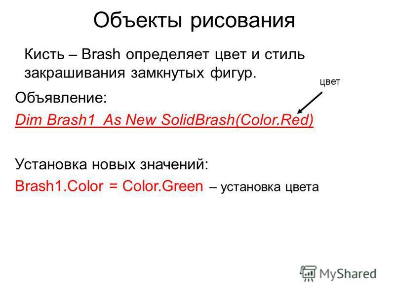 Объекты рисования Кисть – Brash определяет цвет и стиль закрашивания замкнутых фигур. Объявление: Dim Brash1 As New SolidBrash(Color.Red) Установка новых значений: Brash1. Color = Color.Green – установка цвета цвет