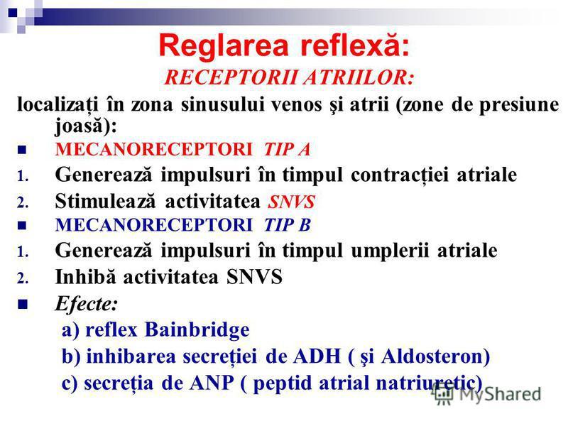 Reglarea reflexă: RECEPTORII ATRIILOR: localizaţi în zona sinusului venos şi atrii (zone de presiune joasă): MECANORECEPTORI TIP A 1. Generează impulsuri în timpul contracţiei atriale 2. Stimulează activitatea SNVS MECANORECEPTORI TIP B 1. Generează